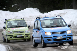 Michael Schumacher and Luca Badoer test Fiat Pandas