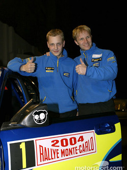 Subaru drivers Petter Solberg and Mikko Hirvonen at the Subaru press conference