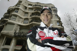 Takuma Sato in front of Antoni Gaudi's house