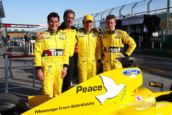 Giorgio Pantano, Eddie Jordan, Timo Glock and Nick Heidfeld