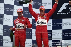 Podium: race winner Michael Schumacher and Rubens Barrichello celebrate