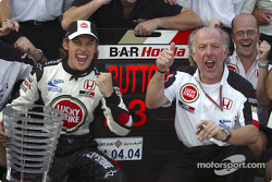 Jenson Button and David Richards celebrate podium finish