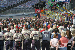 Pitlane scene during the National Anthem