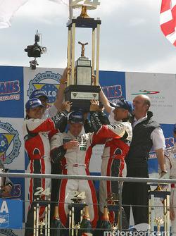 LM P1 podium: winners Seiji Ara, Rinaldo Capello, Tom Kristensen