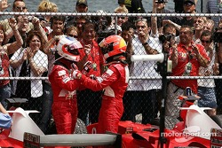 Michael Schumacher and Rubens Barrichello celebrate