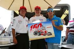 Olivier Panis celebrates 150th Grand Prix with Cristiano da Matta and Jarno Trulli
