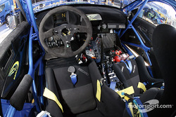 The cockpit of Petter Solberg's Subaru Impreza WRC04