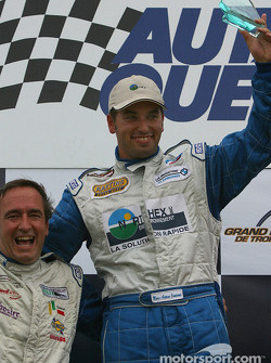 GTO podium: race winner Marc-Antoine Camirand with Normand Guindon