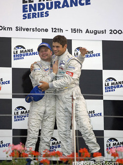 LM P1 and overall podium: race winners Allan McNish and Pierre Kaffer