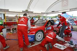 Sébastien Loeb at Citroën Sport service area