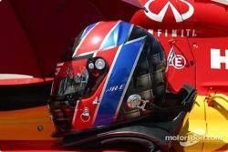 Arie Luyendyk's helmet and HANS device sit ready
