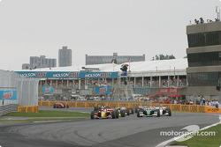 Green flag: Sébastien Bourdais takes the lead