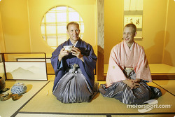 Petter Solberg and Mikko Hirvonen are welcomed to Japan with a traditional Japanese Tea ceremony in Obihiro