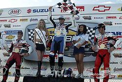 Podium: race winner Mat Mladin with Miguel Duhamel and Ben Bostrom