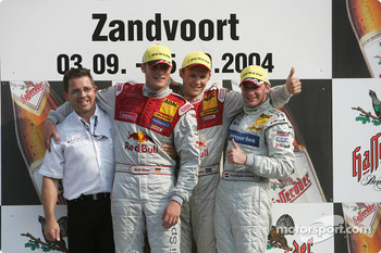Podium: race winner Mattias Ekström with Martin Tomczyk and Christijan Albers