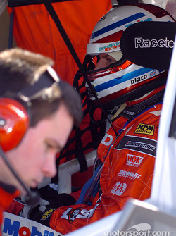 Britian Jason Plato waits while data is downloaded