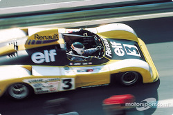 Jean-Pierre Jarier exits the pits in the Alpine A442A he shares with Derek Bell