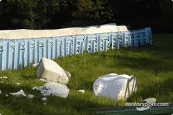 The foam barrier was well used in turn seven