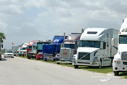 Transporters waiting to enter Miami-Homestead Speedway