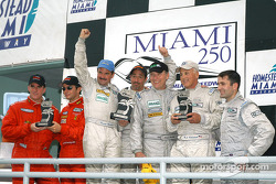 GT podium: class winners Kevin Buckler and Tom Nastasi, with Ian James, RJ Valentine and Chris Gleason, and Matt Plumb and Maurizio Mediani