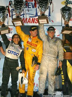 P2 podium: class winners Clint Field, Robin Liddell, Milka Duno