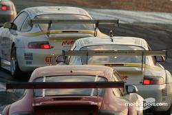A group of Porsches