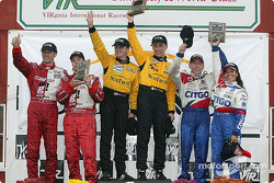 DP podium: overall and class winner Wayne Taylor and Max Angelelli, with Scott Pruett and Max Papis, and Milka Duno and Andy Wallace
