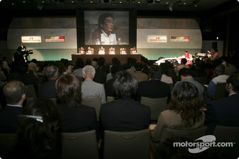 Honda Racing press conference: David Richards, Geoff Willis, Jenson Button, Takuma Sato, Takeo Kiuchi and Ken Hashimoto