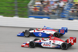 Vitor Meira, A.J. Foyt Enterprises passes Alex Lloyd, Dale Coyne Racing