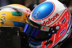 Second place Lewis Hamilton, McLaren Mercedes and third place Jenson Button, McLaren Mercedes