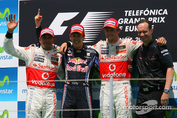 Podium: race winner Sebastian Vettel, Red Bull Racing, second place Lewis Hamilton, McLaren Mercedes, third place Jenson Button, McLaren Mercedes