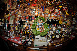 Will Power's winning wreath at the bar in the historic Seneca Lodge