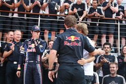 Red Bull Racing team celebrate race win for Mark Webber, Red Bull Racing, Mark Webber, Red Bull Racing, Christian Horner, Red Bull Racing, Sporting Director, Sebastian Vettel, Red Bull Racing