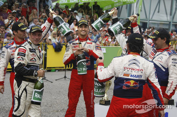 Winners Sbastien Loeb and Daniel Elena, second place Daniel Sordo and Marc Marti third place Petter Solberg and Chris Patterson