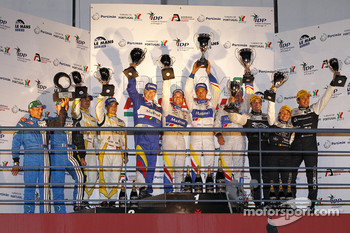 LMP1 podium: class and overall winners Oliver Panis, Nicolas Lapierre and Stéphane Sarrazin, second place Nicolas Prost and Neel Jani, third place Pierre Ragues, Franck Mailleux and Vanina Ickx, Michelin Green X Challenge winners Julien Schell and Freder