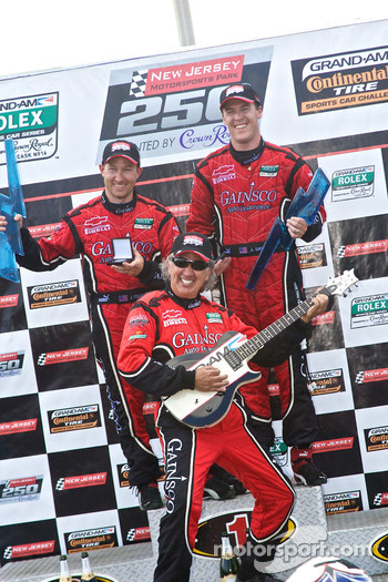 DP podium: class and overall winners Jon Fogarty and Alex Gurney celebrate with Bob Stallings