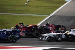 Jaime Alguersuari, Scuderia Toro Rosso crashes into the back of Sebastien Buemi, Scuderia Toro Rosso