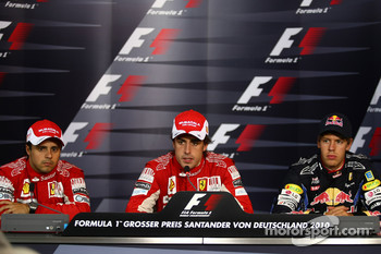 Press conference: race winner Fernando Alonso, Scuderia Ferrari, second place Felipe Massa, Scuderia Ferrari, third place Sebastian Vettel, Red Bull Racing