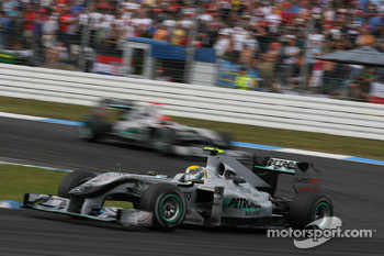 Nico Rosberg, Mercedes GP leads Michael Schumacher, Mercedes GP