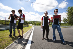 Esteban Gutierrez and Pedro Nunes on a track walk with the team