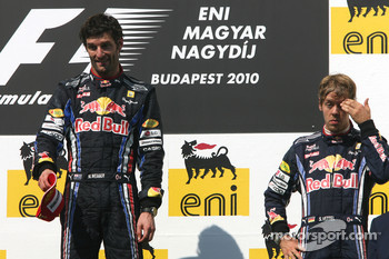 Podium: race winner Mark Webber, Red Bull Racing, third place Sebastian Vettel, Red Bull Racing