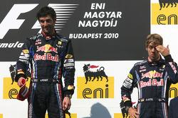 Podium: race winner Mark Webber, Red Bull Racing, third place Sebastian Vettel, Red Bull Racing