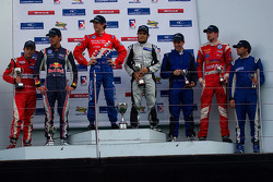 Podium from left: Carlos Munoz, Jean-Eric Vergne, James Calado, Lucas Foresti, James Cole and Menasheh Idafar