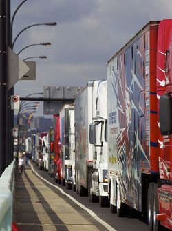 Haulers wait at the track entrance