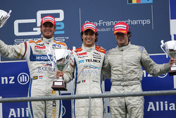 Podium: race winner Sergio Perez, second place Giedo van der Garde, third place Alvaro Parente