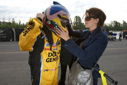Jacques Villeneuve with his girlfriend