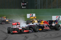 Trouble Sebastian Vettel, Red Bull Racing and Jenson Button, McLaren Mercedes