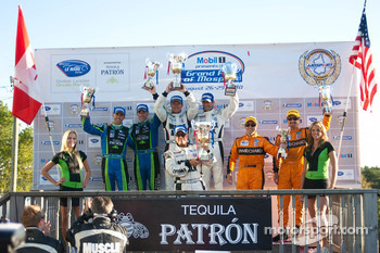 LMP podium: #1 (#100) Patron Highcroft Racing Honda Performance Development ARX-01c: David Brabham, Simon Pagenaud,#12 Autocon Motorsports Lola B06 10 AER: Tony Burgess, Johnny Mowlem,#6 Team Cytosport Porsche RS Spyder: Klaus Graf, Romain Dumas
