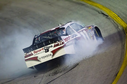 Denny Hamlin, Joe Gibbs Racing Toyota spins off turn 1 after blowing up