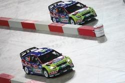 Jari-Matti Latvala and Miikka Anttila, Ford Focus RS WRC08, BP Ford Abu Dhabi World Rally Team and Mikko Hirvonen and Jarmo Lehtinen, Ford Focus RS WRC08, BP Ford Abu Dhabi World Rally Team